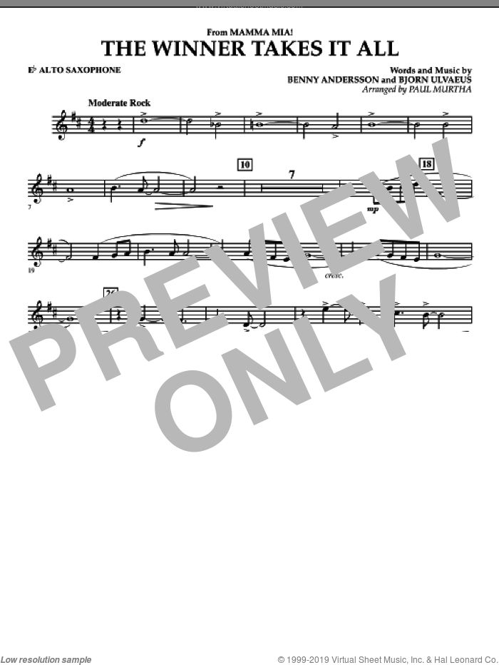 The Winner Takes It All (from 'Mamma Mia!', the motion picture sheet music for concert band (Eb alto saxophone) by Benny Andersson, Bjorn Ulvaeus, Miscellaneous, ABBA and Paul Murtha, intermediate skill level