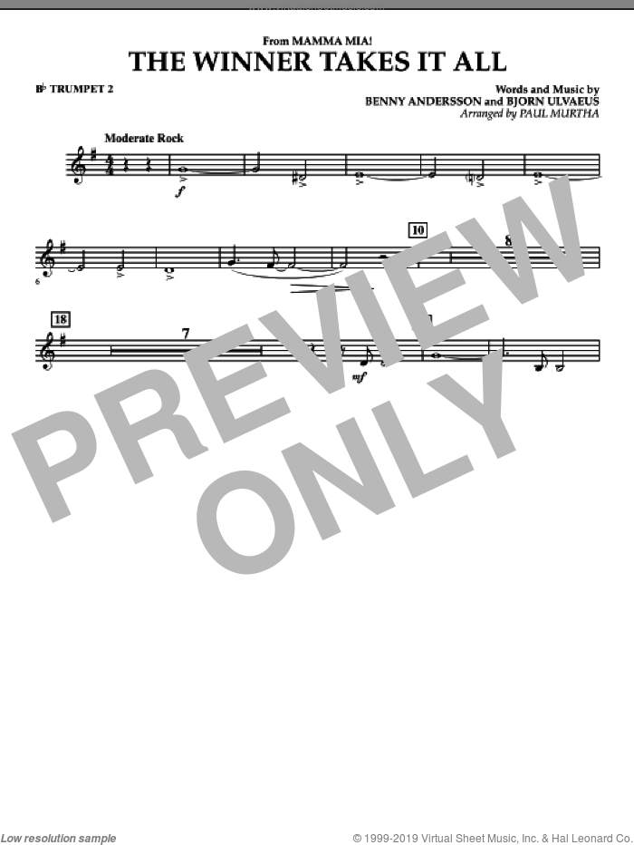The Winner Takes It All (from 'Mamma Mia!', the motion picture sheet music for concert band (Bb trumpet 2) by Benny Andersson, Bjorn Ulvaeus, Miscellaneous, ABBA and Paul Murtha, intermediate skill level