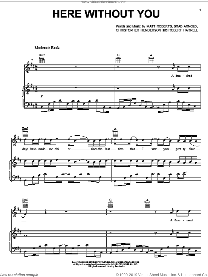 Here Without You sheet music for voice, piano or guitar by 3 Doors Down, Brad Arnold, Christopher Henderson, Matt Roberts and Todd Harrell, intermediate skill level