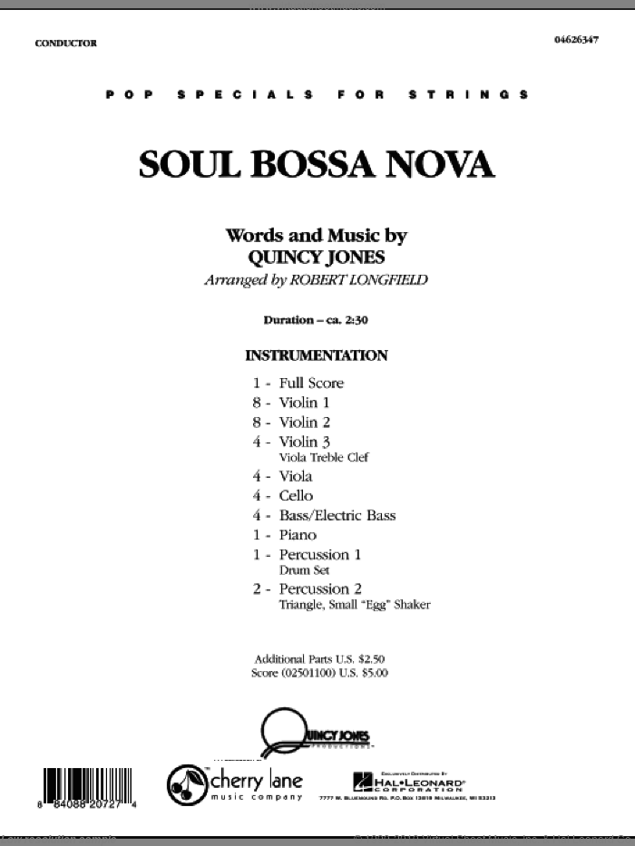 Soul Bossa Nova (COMPLETE) sheet music for orchestra by Quincy Jones and Robert Longfield, intermediate skill level