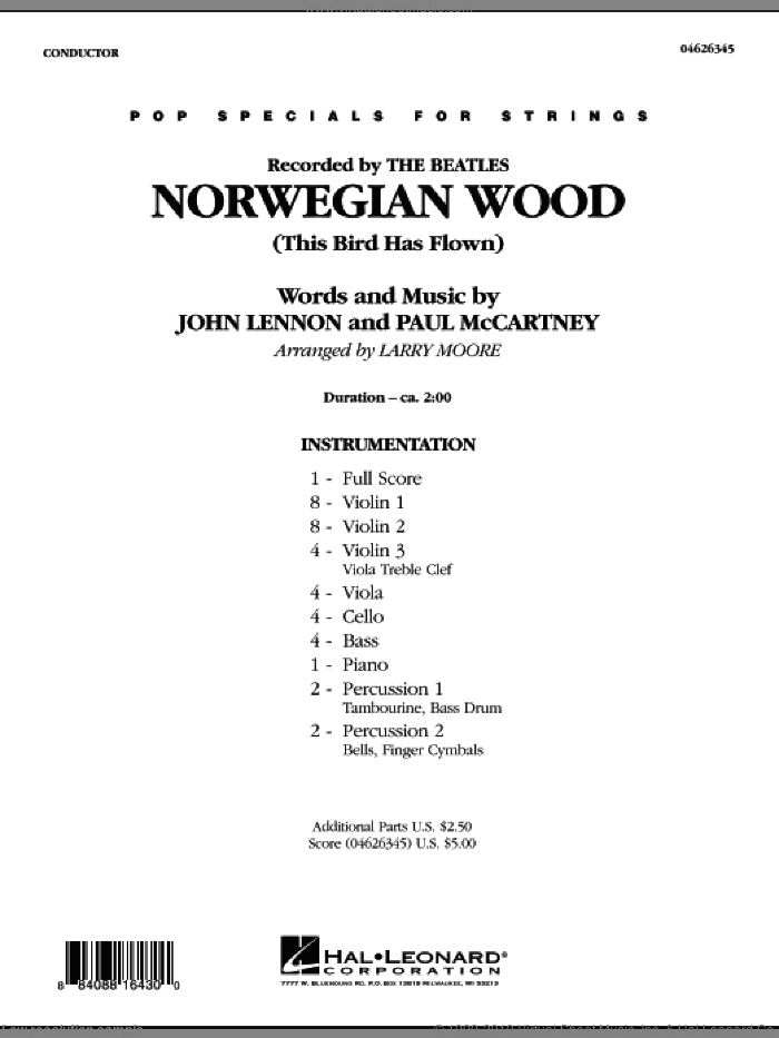 Norwegian Wood (This Bird Has Flown) (COMPLETE) sheet music for orchestra by John Lennon, Paul McCartney, Larry Moore and The Beatles, intermediate. Score Image Preview.