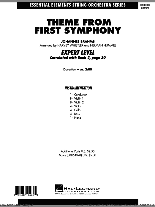 Theme from First Symphony (COMPLETE) sheet music for orchestra by Johannes Brahms