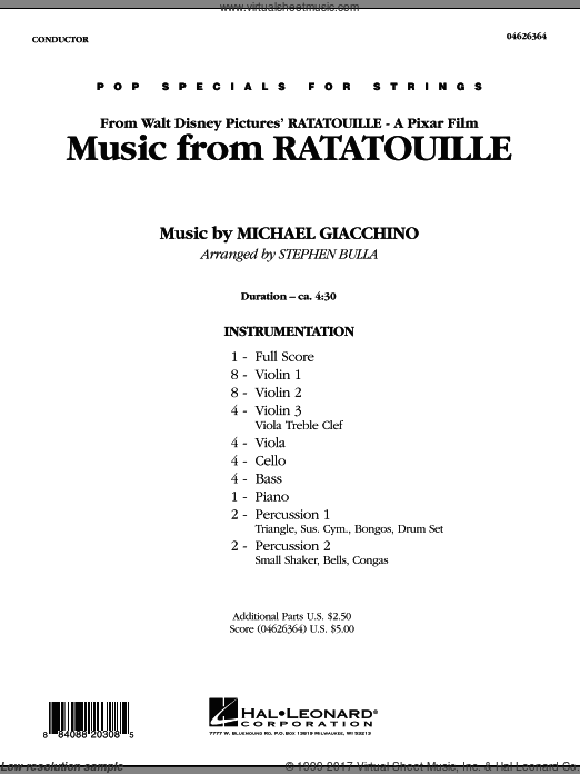 Music from Ratatouille (COMPLETE) sheet music for orchestra by Michael Giacchino