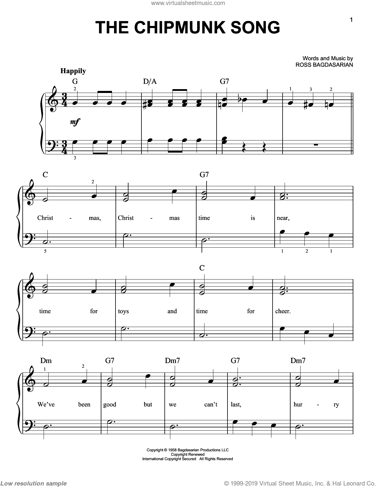 The Chipmunk Song sheet music for piano solo by Alvin And The Chipmunks and Ross Bagdasarian, beginner skill level