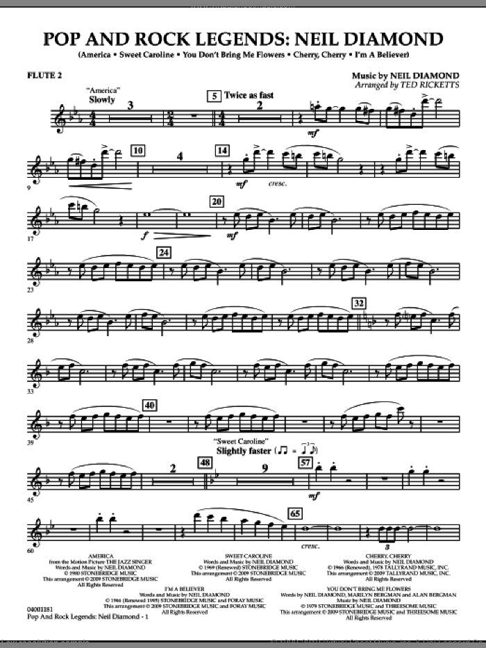 Pop and Rock Legends, neil diamond sheet music for concert band (flute 2) by Neil Diamond and Ted Ricketts, intermediate skill level