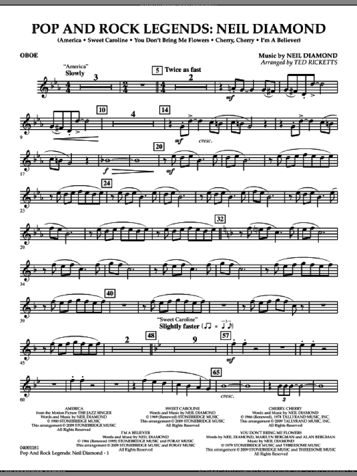 Pop and Rock Legends, neil diamond sheet music for concert band (oboe) by Neil Diamond and Ted Ricketts, intermediate skill level