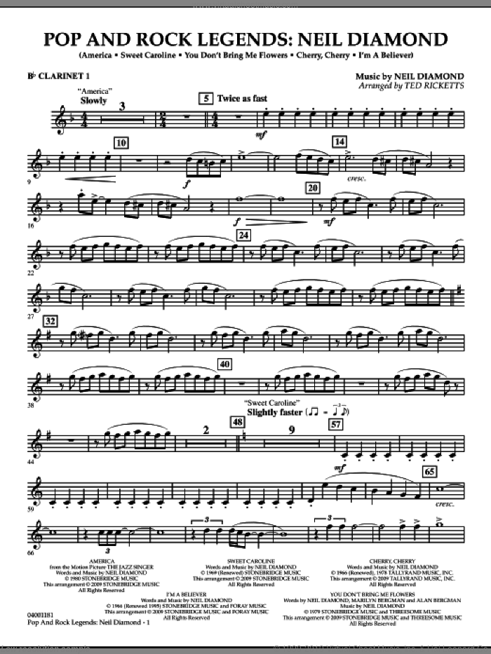 Pop and Rock Legends, neil diamond sheet music for concert band (Bb clarinet 1) by Neil Diamond and Ted Ricketts, intermediate skill level