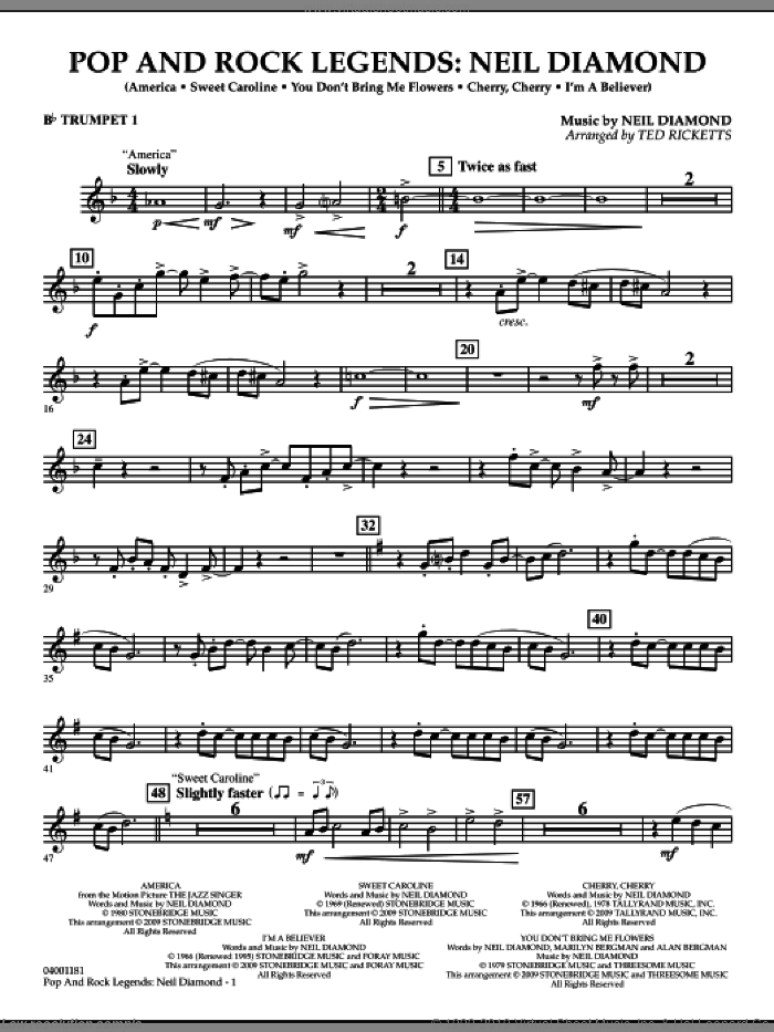 Pop and Rock Legends, neil diamond sheet music for concert band (Bb trumpet 1) by Neil Diamond and Ted Ricketts, intermediate skill level
