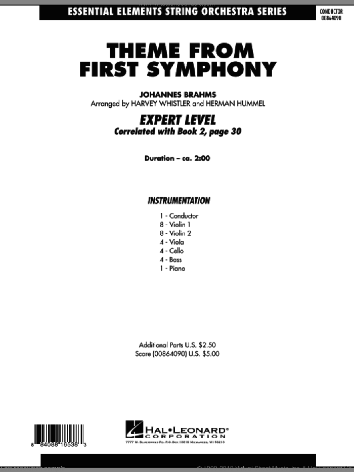 Theme from First Symphony (COMPLETE) sheet music for orchestra by Johannes Brahms, Harvey Whistler and Herman Hummel, classical score, intermediate. Score Image Preview.