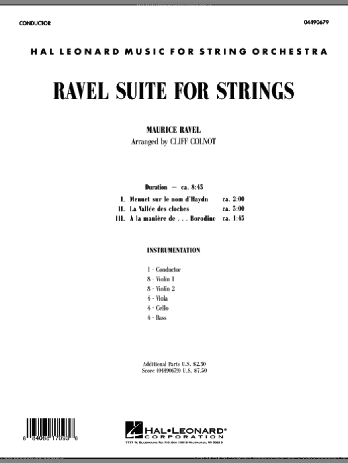Ravel Suite for Strings (COMPLETE) sheet music for orchestra by Maurice Ravel and Cliff Colnot, classical score, intermediate skill level