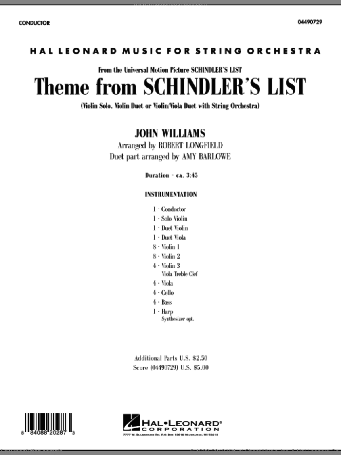 Theme from Schindler's List (COMPLETE) sheet music for orchestra by John Williams, Amy Barlowe and Robert Longfield, intermediate duet