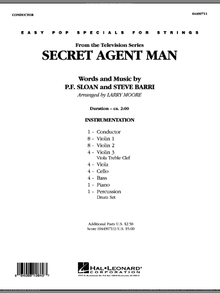 Secret Agent Man (COMPLETE) sheet music for orchestra by Steve Barri, P.F. Sloan and Larry Moore, intermediate skill level