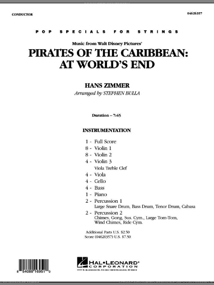 Zimmer - Music from Pirates of the Caribbean: At World's End sheet music  (complete collection) for orchestra