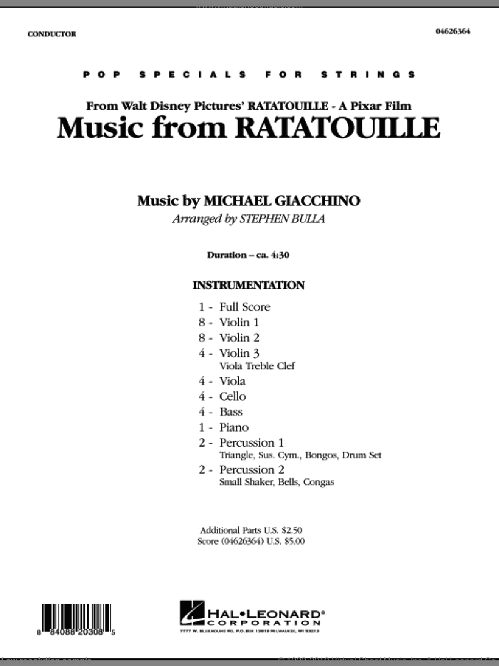 Music from Ratatouille (COMPLETE) sheet music for orchestra by Michael Giacchino and Stephen Bulla, intermediate skill level