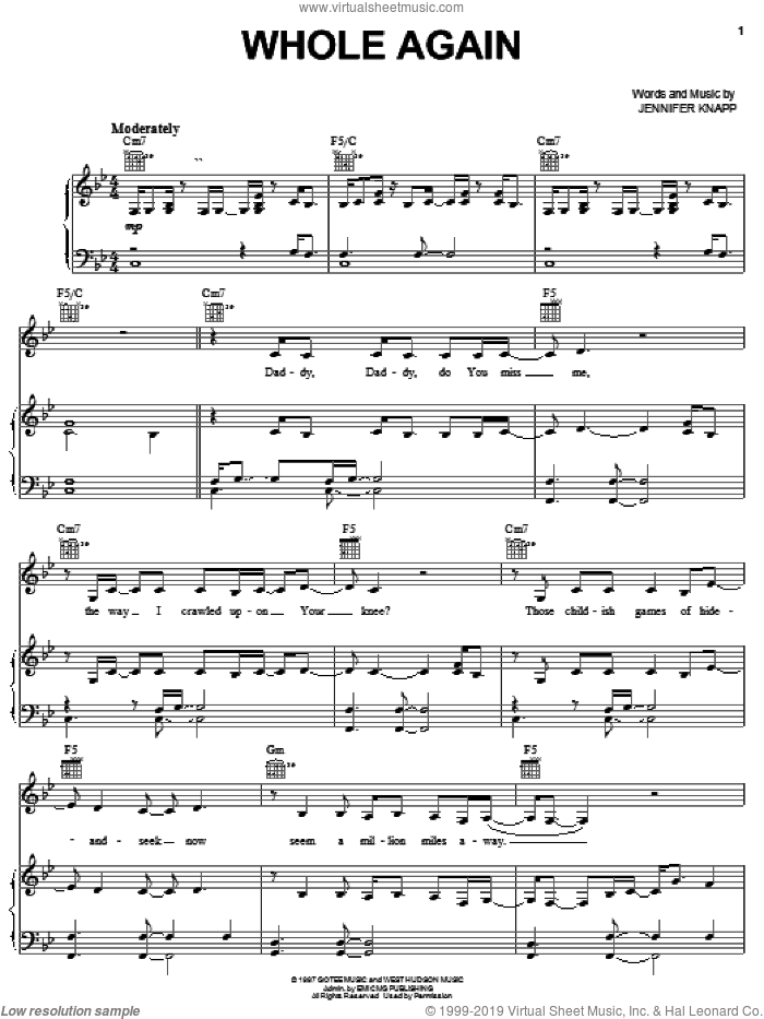 Whole Again sheet music for voice, piano or guitar by Jennifer Knapp, intermediate skill level