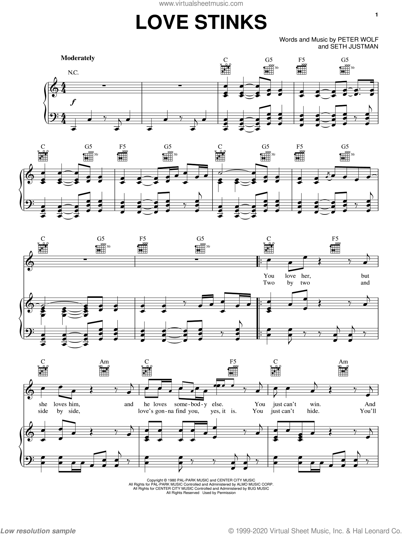 Love Stinks sheet music for voice, piano or guitar by J. Geils Band, Peter Wolf and Seth Justman, intermediate skill level