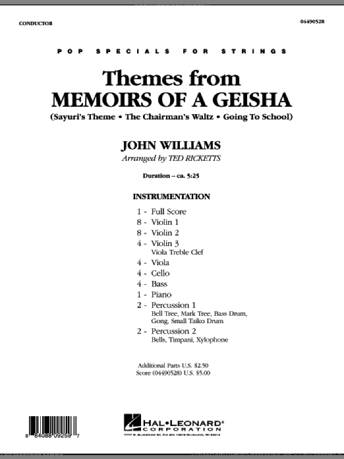 Themes from Memoirs of a Geisha (COMPLETE) sheet music for orchestra by John Williams and Ted Ricketts, intermediate skill level