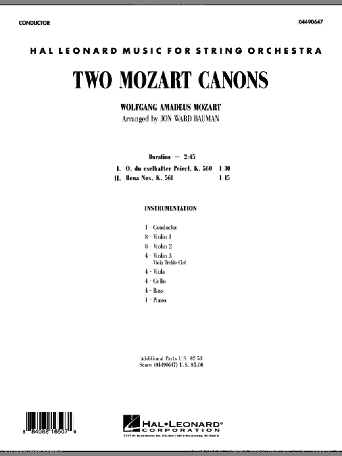 Two Mozart Canons (COMPLETE) sheet music for orchestra by Wolfgang Amadeus Mozart and Jon Ward Bauman, classical score, intermediate skill level