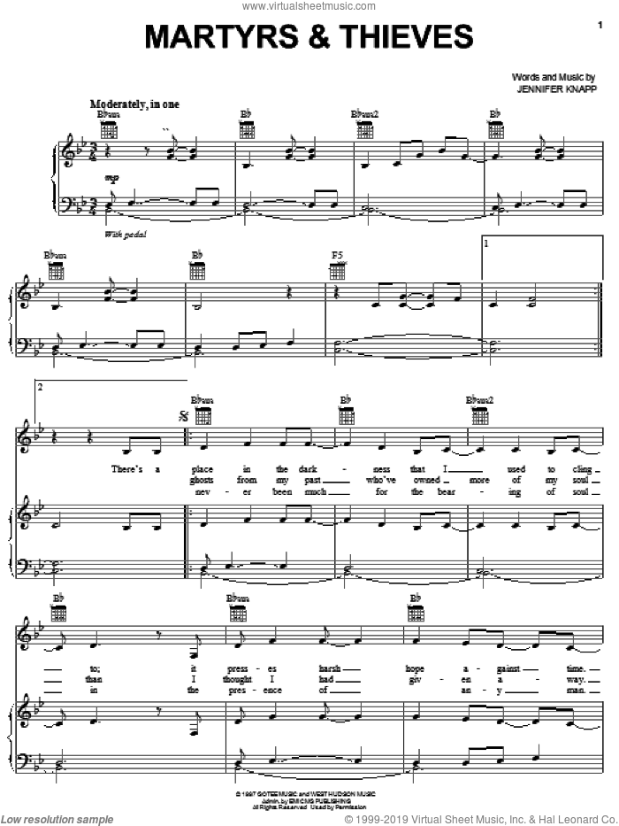 Martyrs and Thieves sheet music for voice, piano or guitar by Jennifer Knapp, intermediate skill level