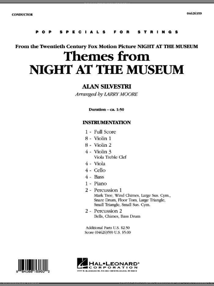 Themes from Night at the Museum (COMPLETE) sheet music for orchestra by Alan Silvestri and Larry Moore, intermediate skill level