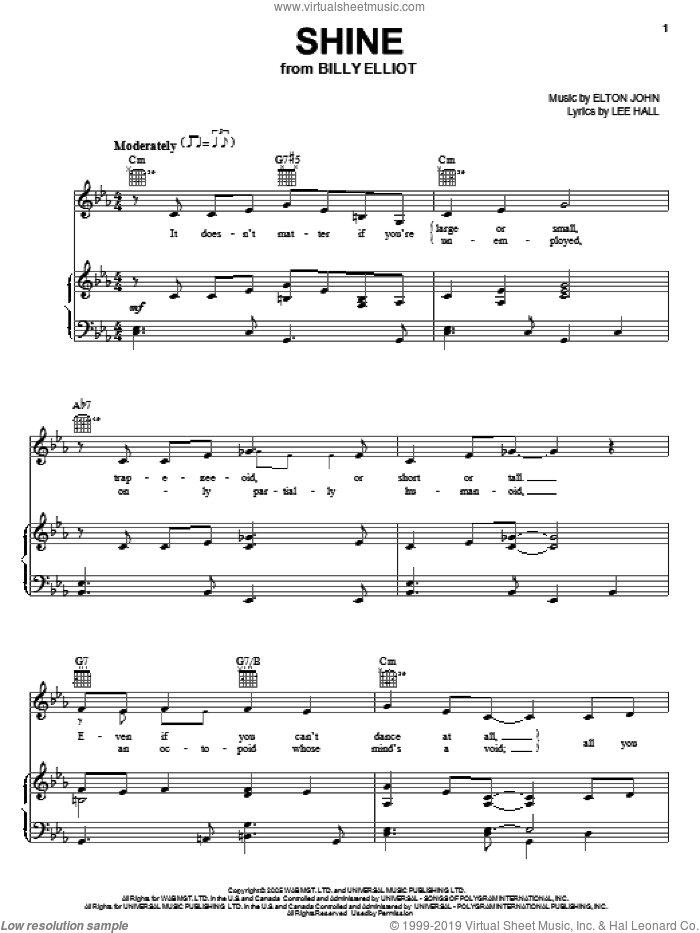 Shine sheet music for voice, piano or guitar by Elton John, Billy Elliot (Musical) and Lee Hall, intermediate. Score Image Preview.