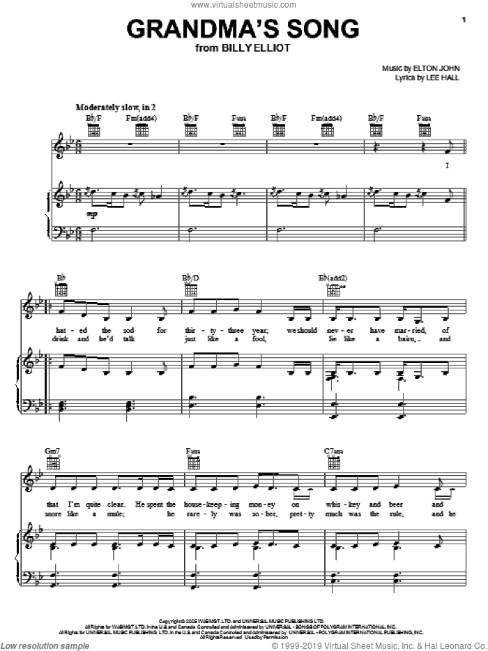 Grandma's Song sheet music for voice, piano or guitar by Elton John, Billy Elliot (Musical) and Lee Hall, intermediate. Score Image Preview.