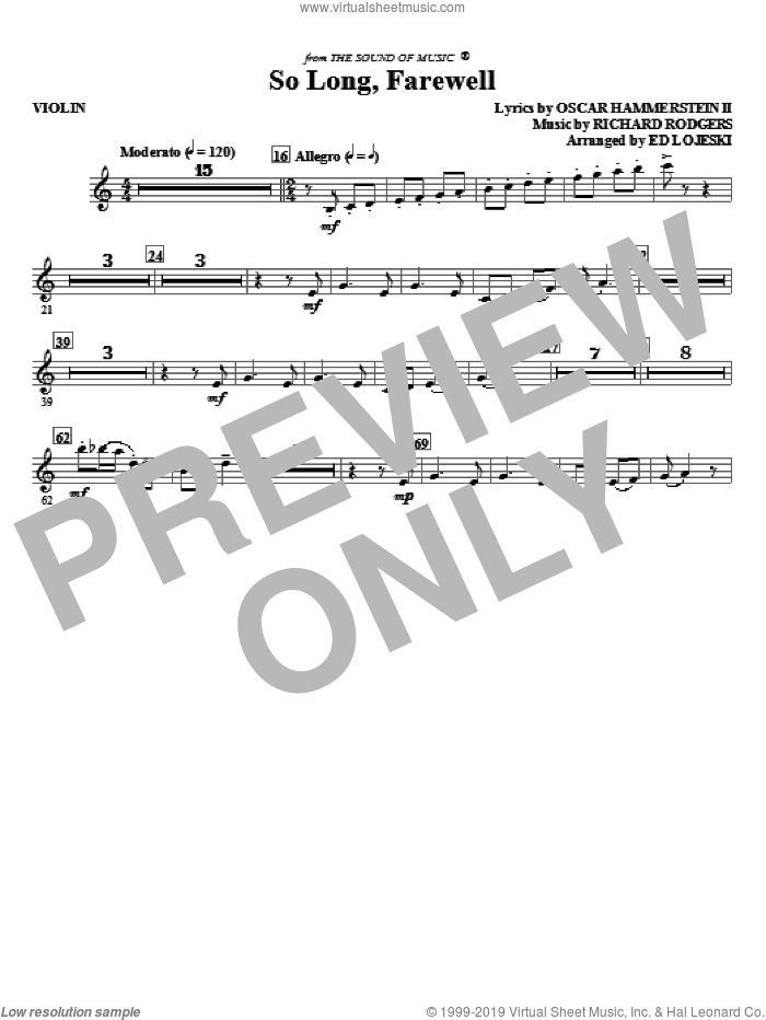 So Long, Farewell (from The Sound Of Music) (complete set of parts) sheet music for orchestra/band (Strings) by Richard Rodgers, Oscar II Hammerstein and Ed Lojeski, intermediate. Score Image Preview.