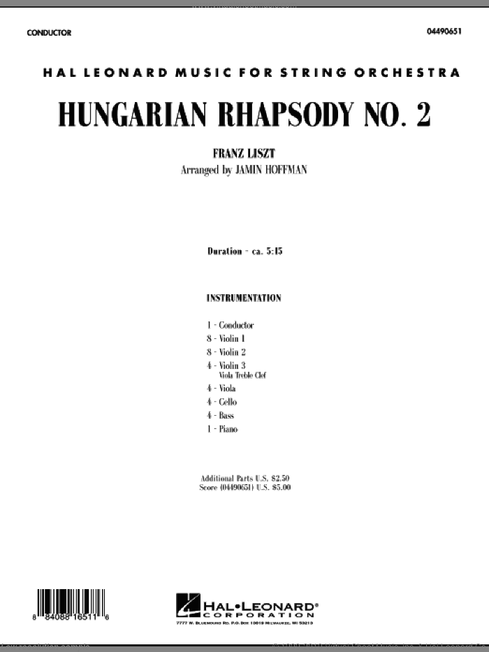 Hungarian Rhapsody No. 2 (COMPLETE) sheet music for orchestra by Franz Liszt and Jamin Hoffman, classical score, intermediate skill level