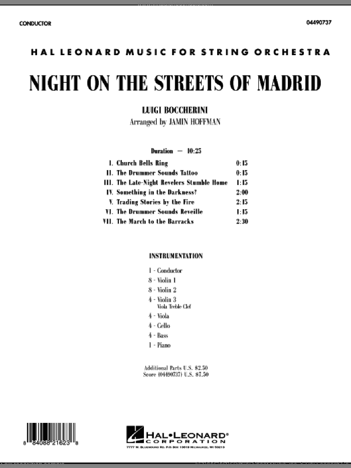 Night on the Streets of Madrid (COMPLETE) sheet music for orchestra by Luigi Boccherini and Jamin Hoffman, classical score, intermediate orchestra. Score Image Preview.