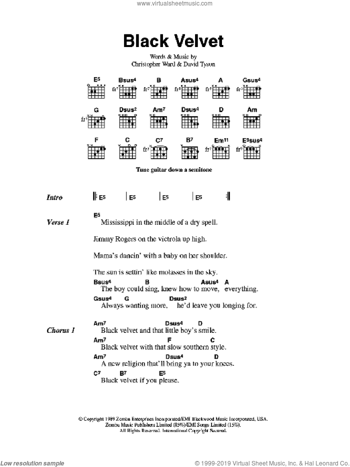 Black Velvet sheet music for guitar (chords) by Alannah Myles, Christopher Ward and David Tyson, intermediate