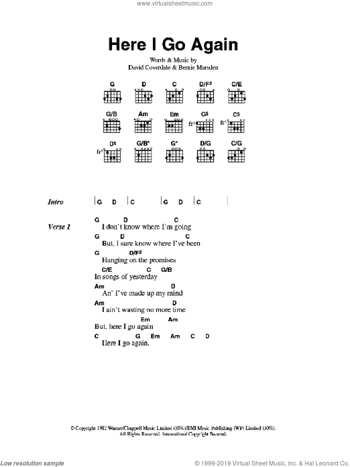 Here I Go Again sheet music for guitar (chords) by Bernie Marsden, Whitesnake and David Coverdale. Score Image Preview.