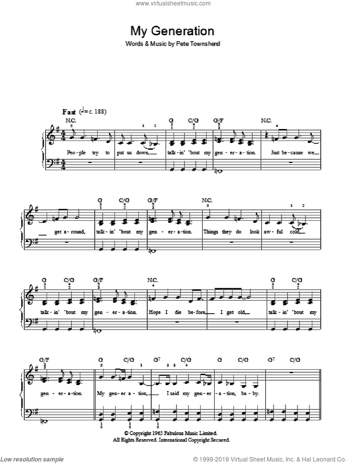 My Generation sheet music for piano solo by The Who and Pete Townshend, easy piano. Score Image Preview.