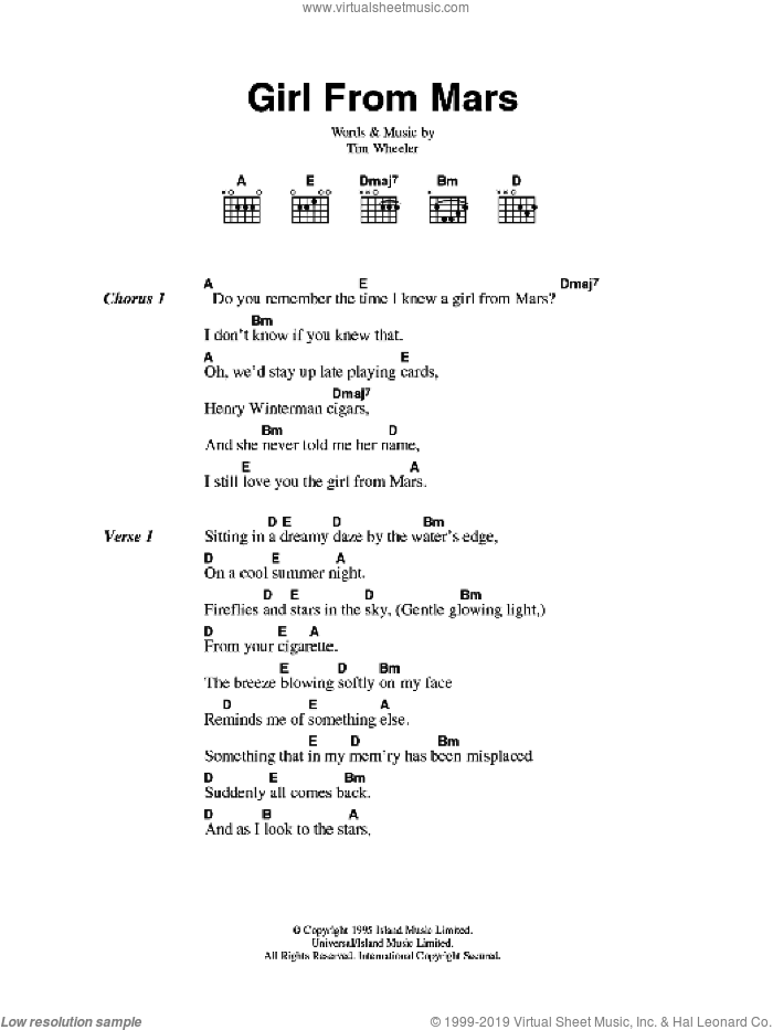 Girl From Mars sheet music for guitar (chords) by Tim Wheeler, intermediate skill level