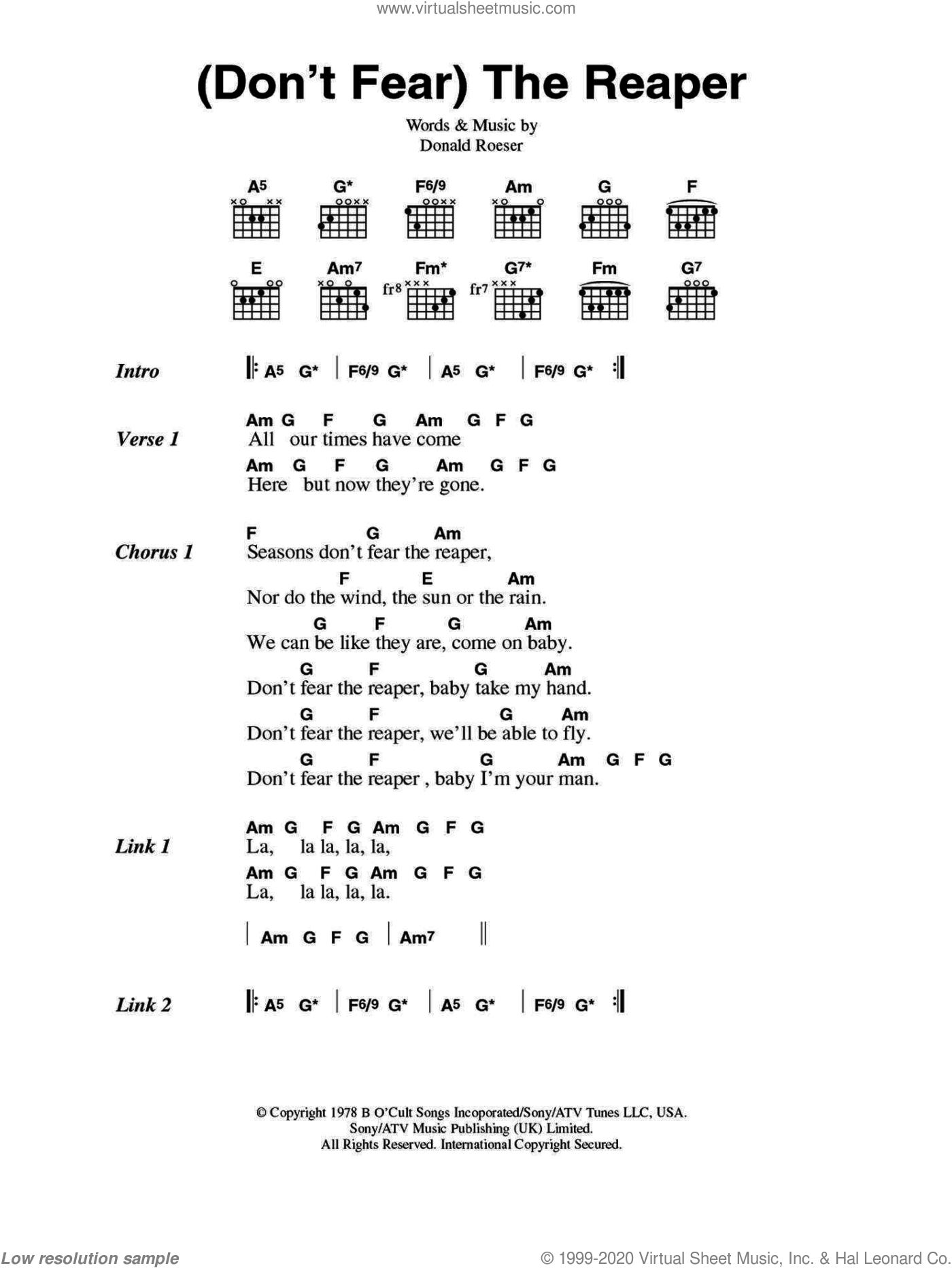 (Don't Fear) The Reaper sheet music for guitar (chords) by Donald Roeser and Blue Oyster Cult. Score Image Preview.