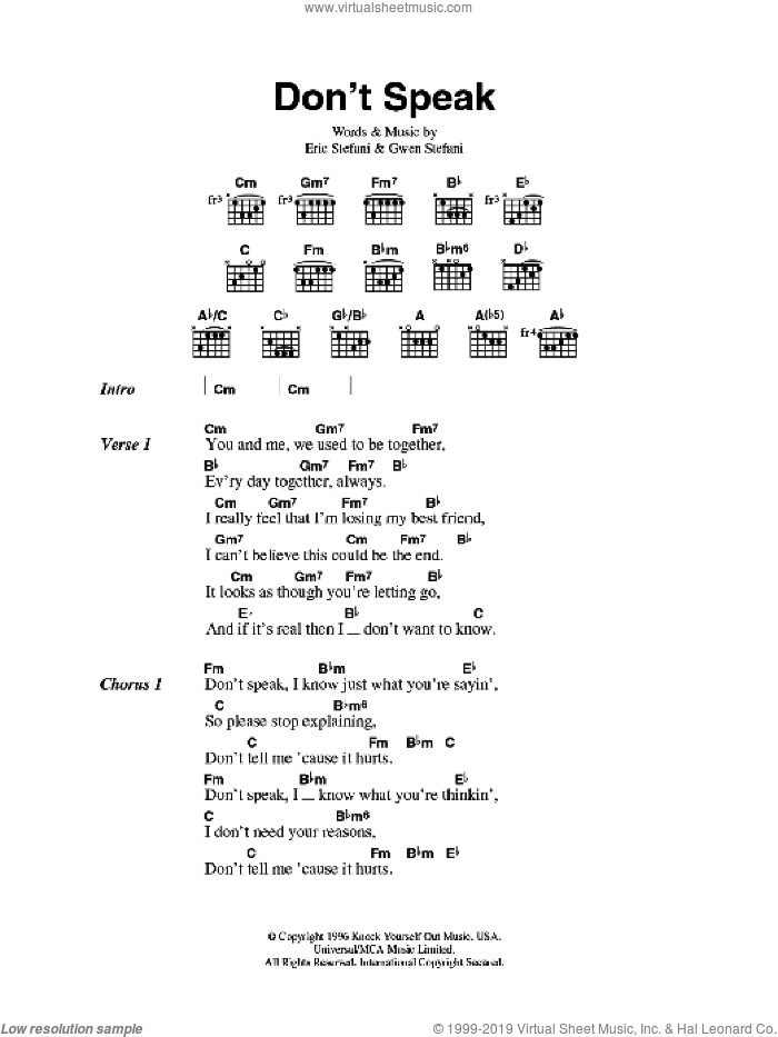 Don't Speak sheet music for guitar (chords) by Gwen Stefani, No Doubt and Eric Stefani