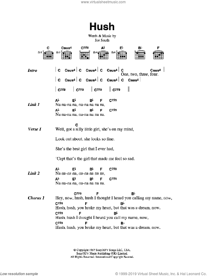 Shaker - Hush sheet music for guitar (chords) [PDF]