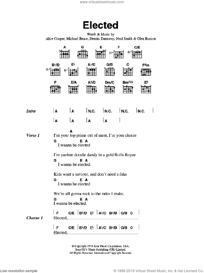 Elected sheet music for guitar (chords) by Alice Cooper, intermediate guitar (chords). Score Image Preview.