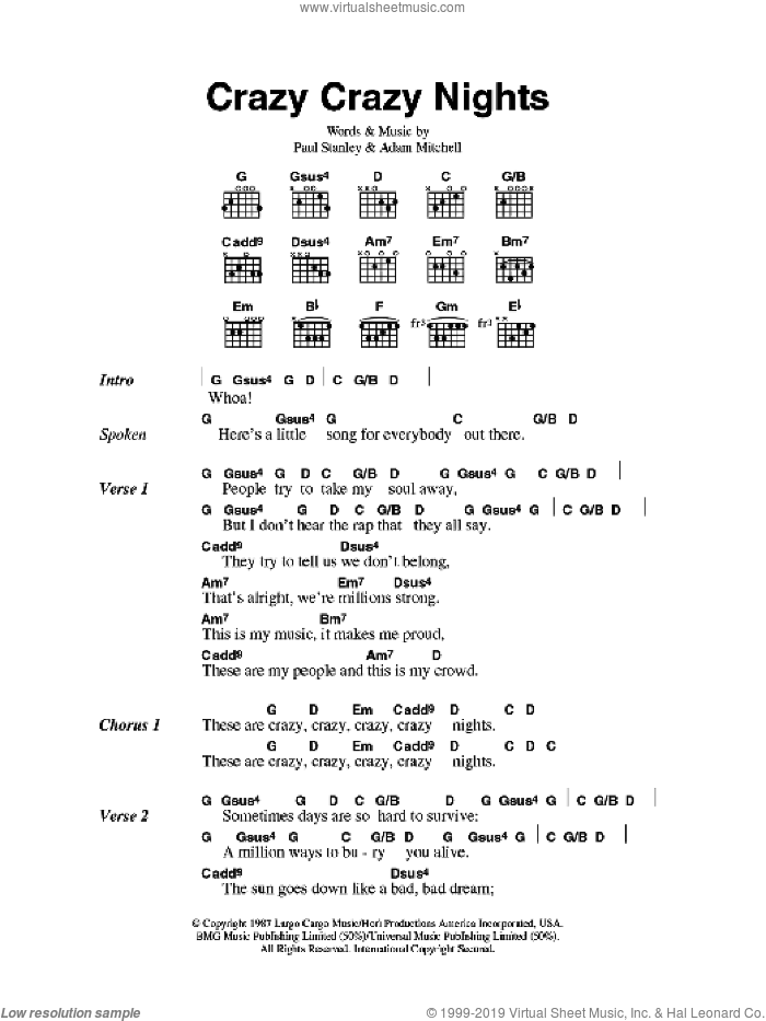 KISS - Crazy Crazy Nights sheet music for guitar (chords) v2