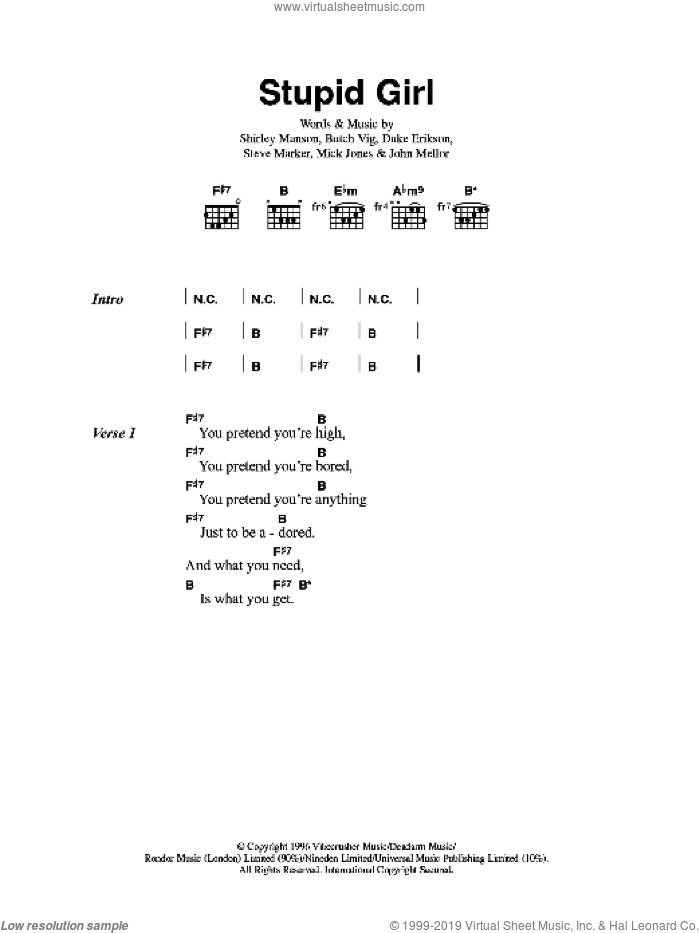 Stupid Girl sheet music for guitar (chords) by Butch Vig and Steve Marker. Score Image Preview.