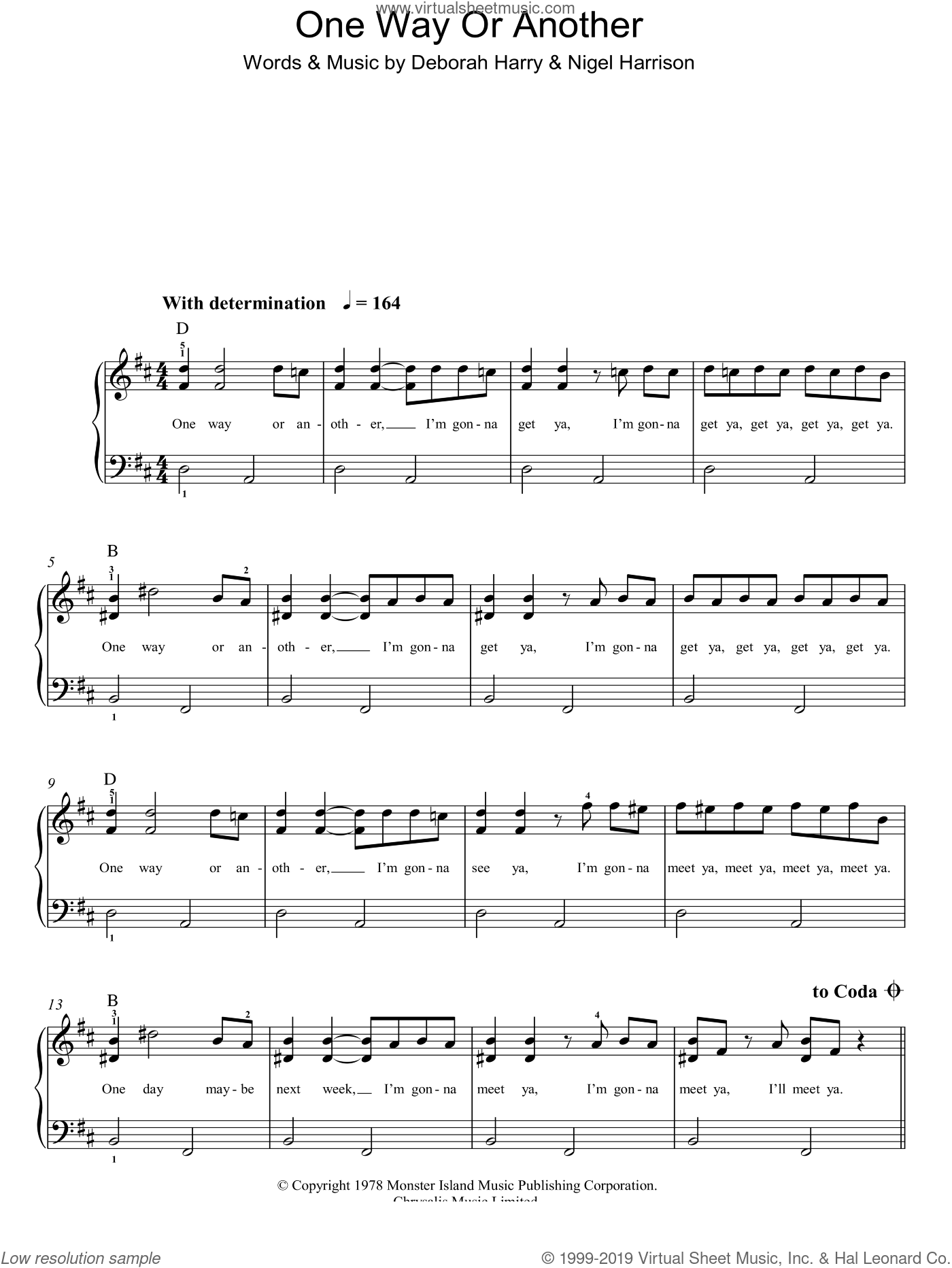 One Way Or Another sheet music for piano solo by Blondie, Deborah Harry and Nigel Harrison, easy skill level