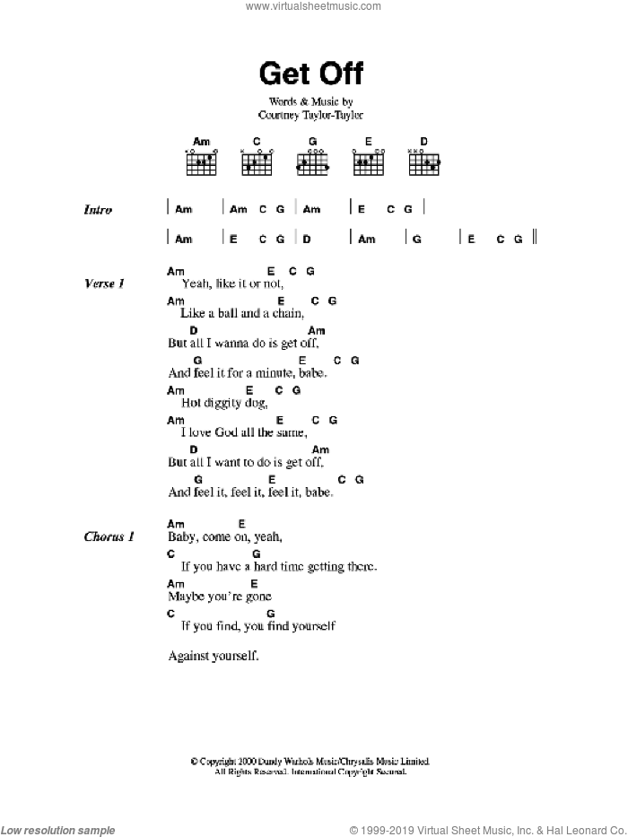 Get Off sheet music for guitar (chords) by The Dandy Warhols and Courtney Taylor-Taylor, intermediate. Score Image Preview.
