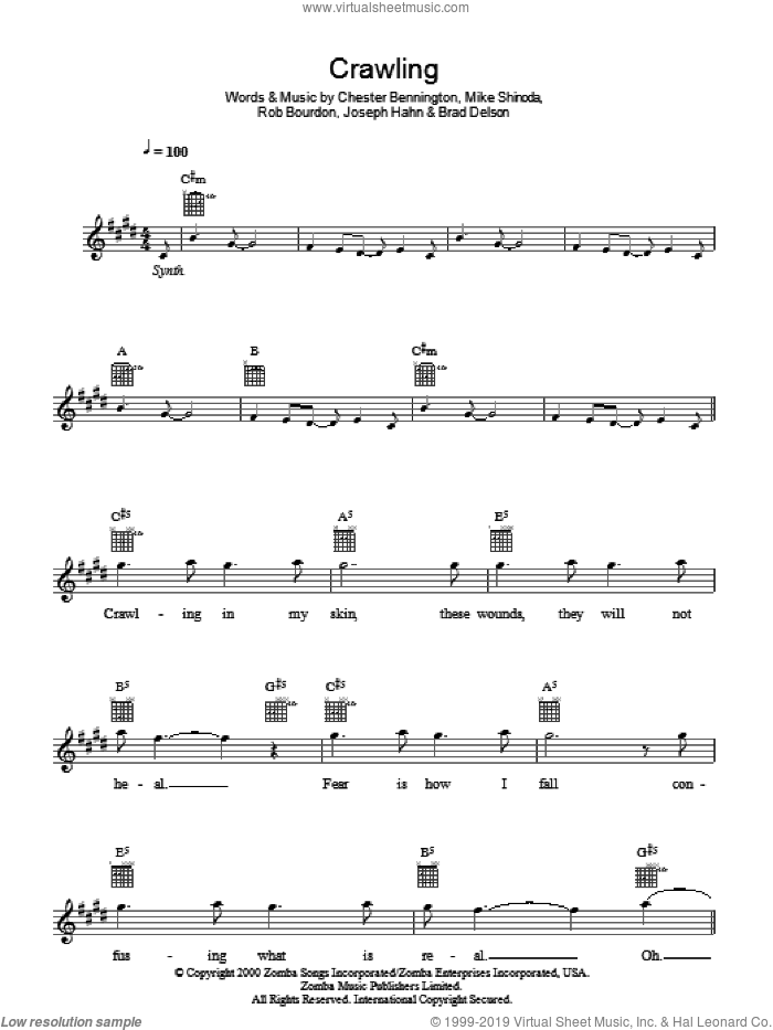 Crawling sheet music for voice and other instruments (fake book) by Linkin Park, Brad Delson, Chester Bennington, Joseph Hahn, Mike Shinoda and Rob Bourdon, intermediate skill level