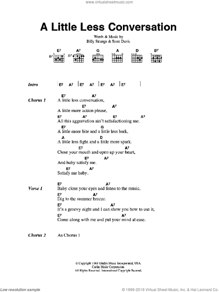 A Little Less Conversation sheet music for guitar (chords) by Billy Strange, Elvis Presley and Scott Davis. Score Image Preview.