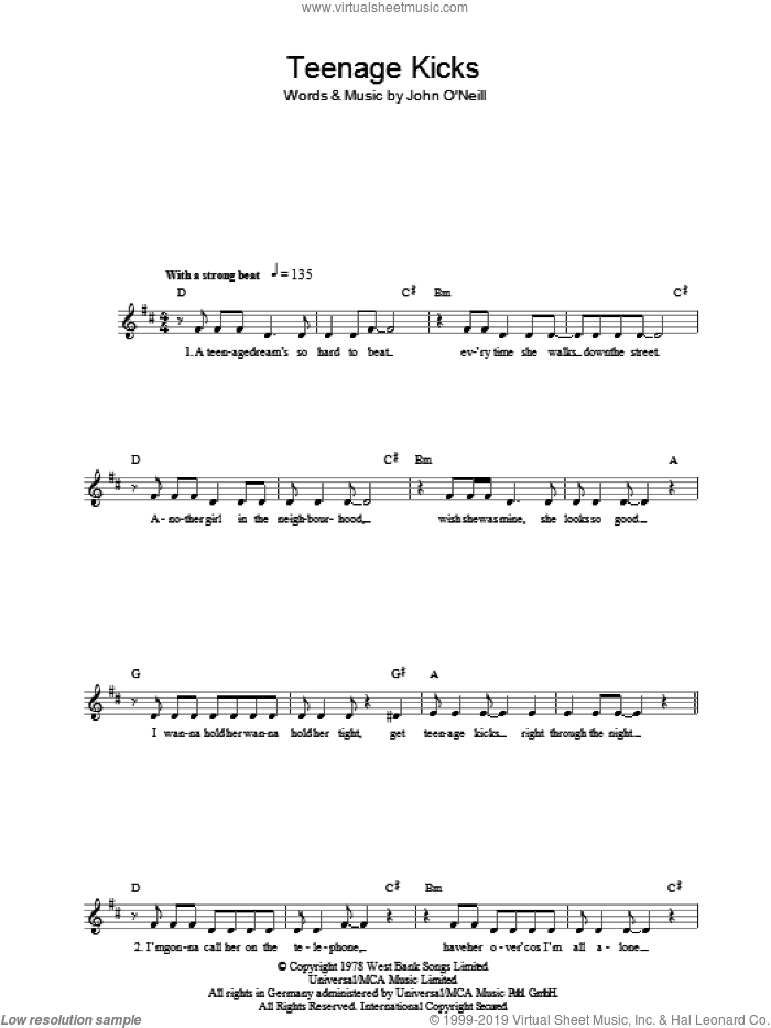 Teenage Kicks sheet music for voice and other instruments (fake book) by John O'Neill and The Undertones. Score Image Preview.