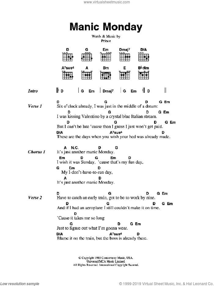 Manic Monday sheet music for guitar (chords) by The Bangles and Prince, intermediate skill level