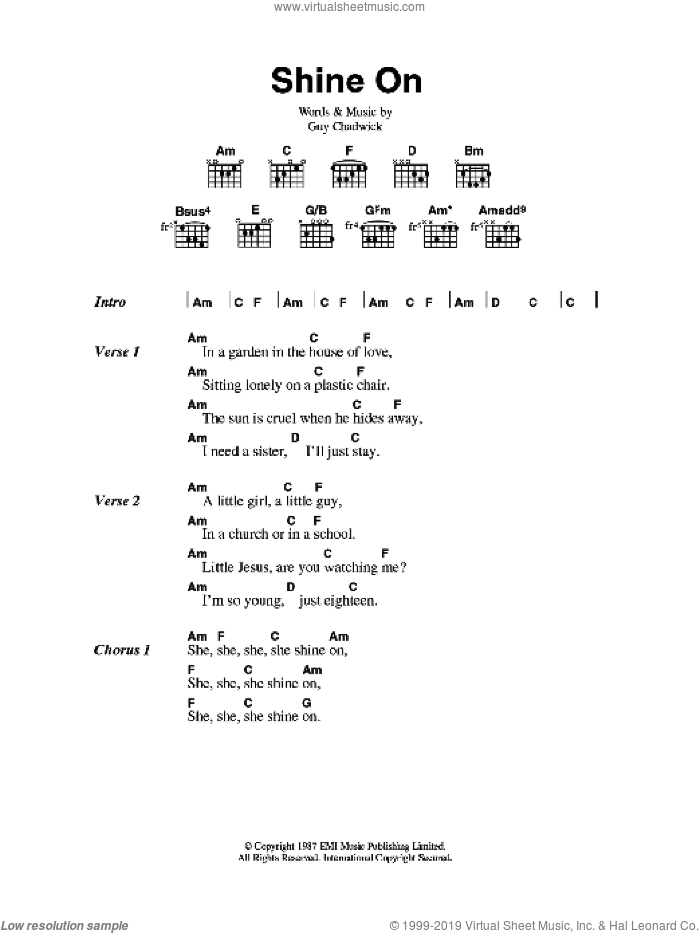 Shine On sheet music for guitar (chords) by Guy Chadwick