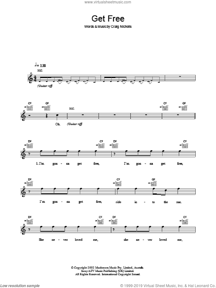 Get Free sheet music for voice and other instruments (fake book) by Craig Nicholls and The Vines. Score Image Preview.