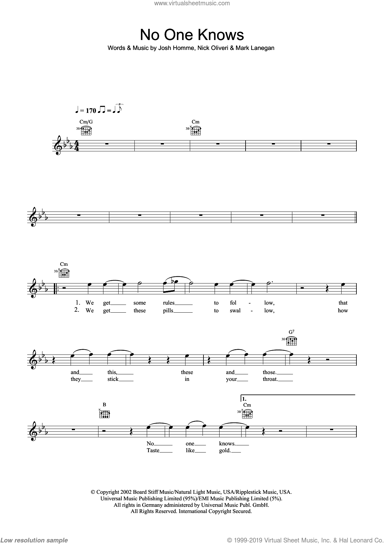 No One Knows sheet music for voice and other instruments (fake book) by Josh Homme, Queens Of The Stone Age and Nick Oliveri. Score Image Preview.