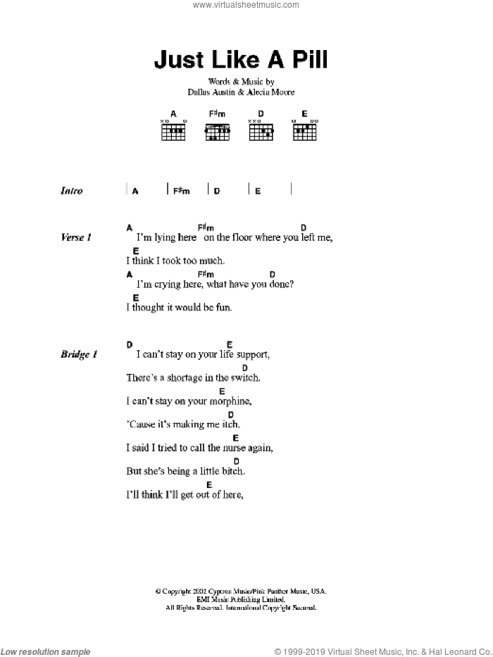 Just Like A Pill sheet music for guitar (chords) , Alecia Moore and Dallas Austin, intermediate skill level