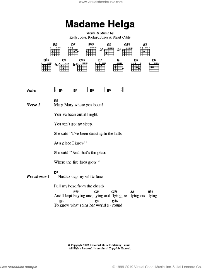 Madame Helga sheet music for guitar (chords) by Kelly Jones, Stereophonics, Richard Jones and Stuart Cable. Score Image Preview.